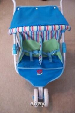 Retraité American Girl Doll Bitty Baby Twins Double Poussette Avec Canopy Retired
