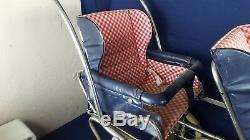 Sièges Amovibles Vintage Perego Double Landau Landau Bleu Rouge Vichy