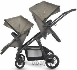 Silver Cross Coast Twin Baby Double Pram System Baby Poussette W Bassinet Tundra