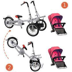 Simple / Double Bébé Maman Siège Tricycle Jumeau Poussette Tandem Vélo Poussette Vélo