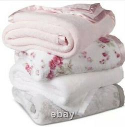 Simplement Shabby Chic Baby Pink Satin Trim Original 2 Ply Thick Peluche Twin Blanket