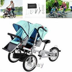 Toddler Baby Poussette Mère Poussette Vélo 2 Sièges Pliant Bicyclette En Acier
