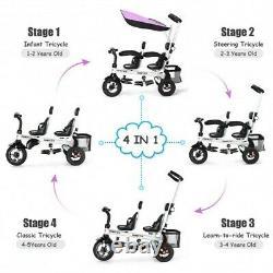 Tricycle Bébé Twins Kids Avec Sécurité Double Rotatable Siège Rose
