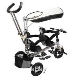 Tricycle Pour Bébé 4 En 1 Jumeaux Avec Siège Pivotant Double De Sécurité