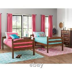 Twin Over Twin Bunk Bed Separable Wooden Home Bedroom Teens Child Cherry