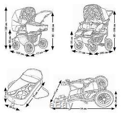 Twin Pram 3in1 Poussette Double Tandem Poussette Jumeaux Sièges Auto 17 Couleurs