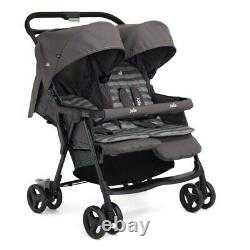 Twin Stroller Double Buggy Twins Baby Pushchair Joie Aire Réglable Pram Grey