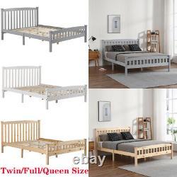 Twin/full/queen Size Plate-forme En Bois Bed Frame Foundation Avec Pied De Table