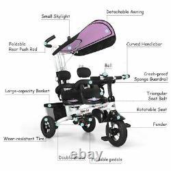 Twins Durables Tricycle Pour Bébé Pour Enfants Avec Deux Roulettes Rotatives De Sécurité