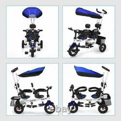 Twins Tricycle Pour Bébé Avec Siège Double Rotatable De Sécurité