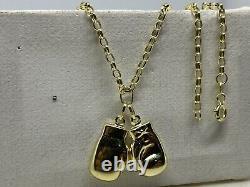 Véritable 9ct Yellow Gold Double Twin Boxing Glove Pendentif & Collier Chaîne 18 Nouveau