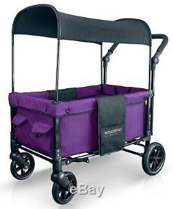 Wonderfold W1 Un Pas Fold Unfold Double Double Poussette Seat Wagon Cobalt Violet