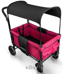 Wonderfold W1 Un Pas Fold Unfold Double Poussette Double Seat Wagon Rose Fuschia